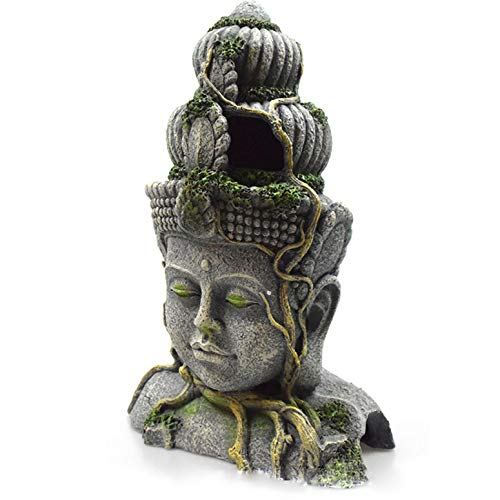 LGYKUMEG Aqua Ornaments,Große Buddha-Statue, Aquarium-Buddha-Statue, Dekoration, alte Buddha-Statue, Aquarium-Dekoration, Aquariendekoration Gate Bridge mit Pflanzen,19.5 * 14 * 28.5cm