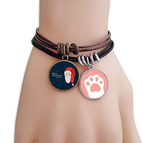 DIYthinker Damen Frohe Weihnachten Weihnachtsmann Katzen-Armband-Leder-Seil-Armband Paar Sets