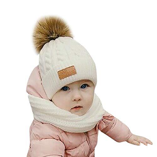 FeiliandaJJ Neugeborene Baby Mützen Mädchen Jungen Haarballen Wolle Strickmütze Baby Hüte Warm Baby Wintermützen (Weiß)