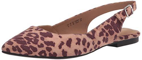 Amazon Essentials Flache Damenjacke mit Slingback flats-sandals, Leopard Micro, 11