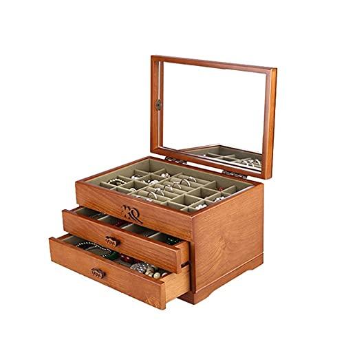 Scatola di Gioielli Organizer di gioielli in legno, scatola di visualizzazione di gioielli a 3 strati con custodia per monili a specchio per anello per orecchini Bracciale per collana Scatole Portagio