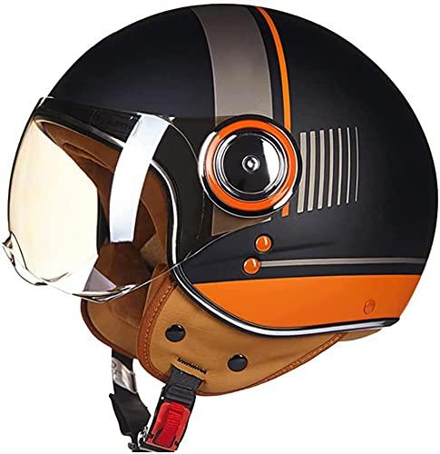 XDKJ Medio Casco de Motocicleta para Adultos, Aprobado por Dot/ECE 3/4 Cascos de Motocicleta Estilo Retro, Cara Abierta, Chopper, Scooter, Crucero, Casco (Color : A, Size : Medium)