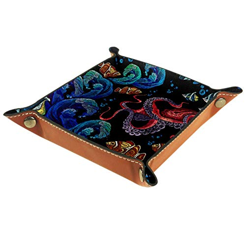 Shiiny Embroidery Octopus and Tropical Fishes DIY Design Small Storage Box for Storing Small Things Such as Keys and Watches, Can Be Used in Homes, Offices, Etc