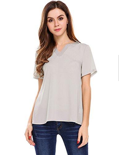 Meaneor Damen V-Ausschnitt Kurzarm Shirt Tunika Party Bluse Oberteil Sommer T-Shirt XL Grau