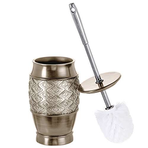 Dublin Decorative Toilet Cleaning Bowl Brush with Holder -(5' x 5' x 15.5'H) Decorative Bowl Scrubber, Space Saving Design, Contemporary Scrubbing Cleaner (Brushed Silver)