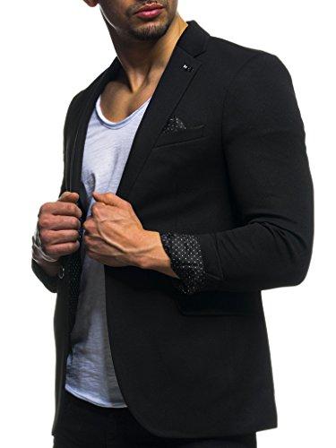Leif Nelson Herren Sakko Blazer sportlich Slim Fit Modern Schwarz Blau LN3047 Schwarz X-Large