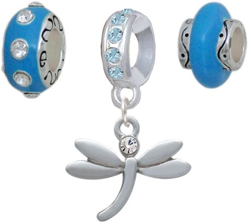 Silvertone Small Dragonfly with OFFicial mail order Crystal Hot Beads Cheap super special price Charm Blue Se