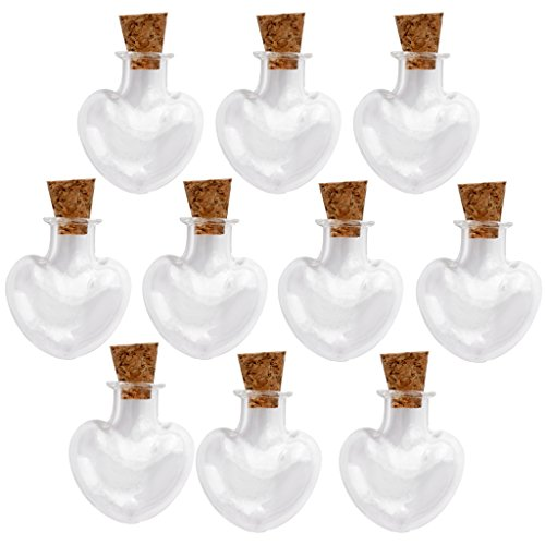 Minifrascos de cristal para deseos, con tapón de corcho, ideales para bodas (10 unidades), vidrio, Heart Shape