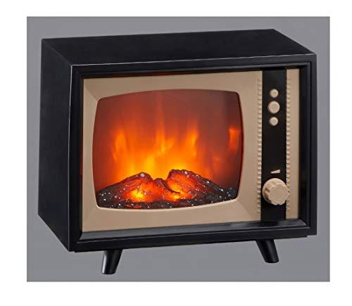 CBK-MS. LED Kamin Laterne Retro Fernseher Tischkamin dimmbare Flammen Optik Vintage TV