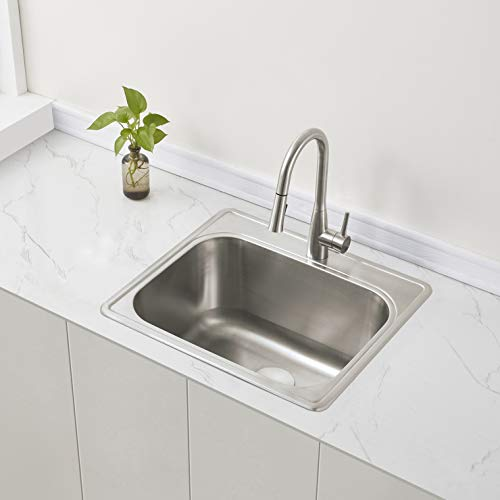 ZUHNE 25 by 22 Drop-In Utility Laundry Kitchen Sink with Drain Strainer (12
