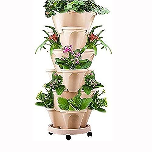 GQTYBZ Maceta Vertical de 6 Niveles para Exteriores, Maceta De Plantación de Frutas y Melones con Bandeja MóVil, Macetas de Plantación Inteligentes para Flores y Suculentas