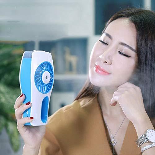 H-HX Mini Lüfter Portable USB-Minihand Luftbefeuchter Mist Gesichtswasser Spray Moisturizing Fan (Pink) (Color : Blue)