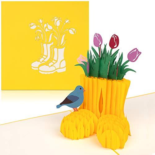 """PaperCrush® Pop-Up Karte Blumen """"Bunte Tulpen"""" [NEU!] - 3D Blumenkarte für beste Freundin oder Mutter (Geburtstagskarte, Danke, Bleib Gesund) - Popup Glückwunschkarte mit Blumenstrauß"""