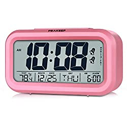 Peakeep Digital Alarm Clock with 2 Alarms for Workdays, Indoor Temperature and Smart Night Light, Battery Operated Only (Pink)