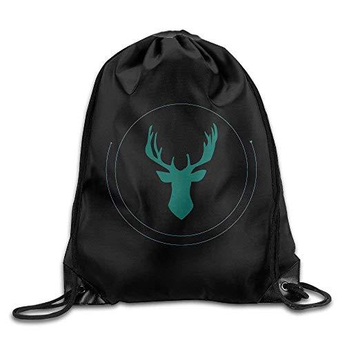 ZHIZIQIU Casual Drawstring Backpack Bag Men Women - Sports Gym Sack Sackpack Yoga Dance Travel Daypack - (Green Deer Circle - Black) -