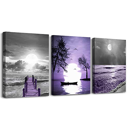 wall decorations for living room 3 Piece framed canvas wall art bathroom artwork for wall painting office bedroom wall decor Black and white ocean purple Landscape modern family Posters home decor
