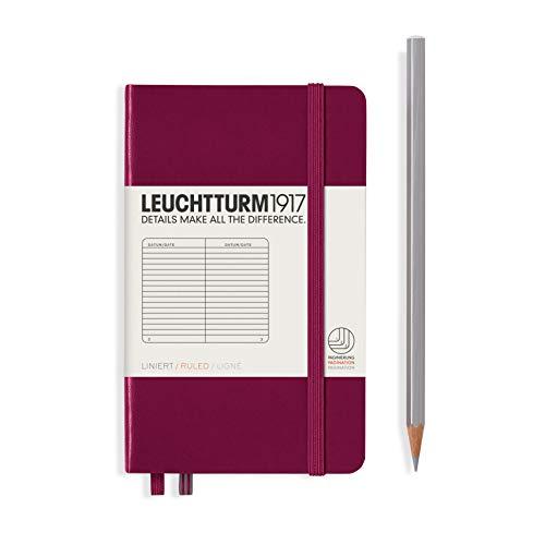 LEUCHTTURM1917 359699 Notizbuch Pocket (A6) liniert, Hardcover, 187 nummerierte Seiten, Port Red