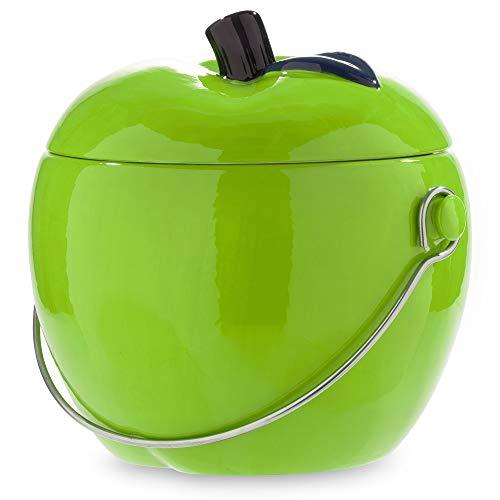 Ceramic Kitchen Compost Bin - Green Apple, 1.0 Gallon Charcoal Filter Compost Bucket for Kitchen | Environmentally Conscious Compost Bin for Kitchen Counter Food Scrap bin