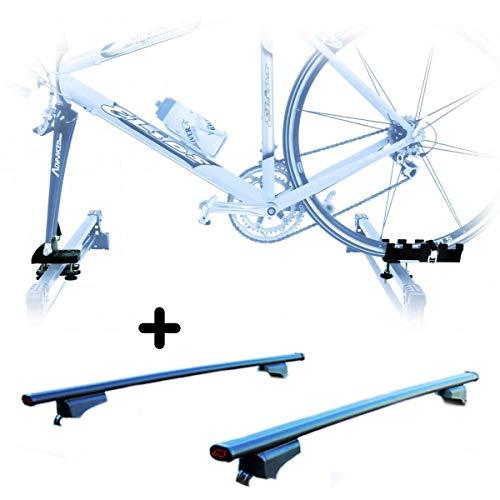 PROPOSTEONLINE Portabici da Tetto Realizzato per Kia NIRO (2016 in Poi) Porta Biciclette con Attacco Bici a Forcella Set Incluse Barre