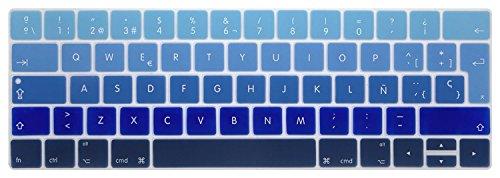 GSuMio Silicona Skin Española ES Cubierta del Teclado para MacBook Pro 13 y 15 con Touch Bar/Barra táctil/Touch ID Modelos A1706 A1707 A1989 A1990, Lanzado en 2016 2017 2018 (Sombra Azul)