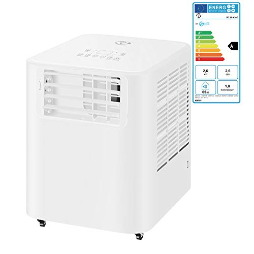 Famgizmo | 3 en 1 LED Aire Acondicionado Móvil Aire Acondicionado Frío Deshumidificador Aire Ventilador | 9000 BTU | 3 Niveles de ventilación | Temporizador 24h | EEK: A | R290 | Teledirigido