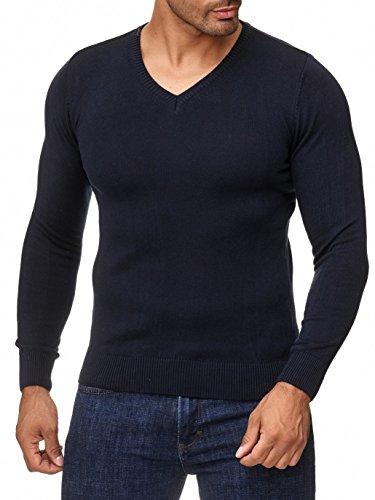 BARBONS Herren Pullover mit V-Ausschnitt - Slim-Fit - Hochwertige Baumwollmischung - Feinstrick-Pullover - Navy L