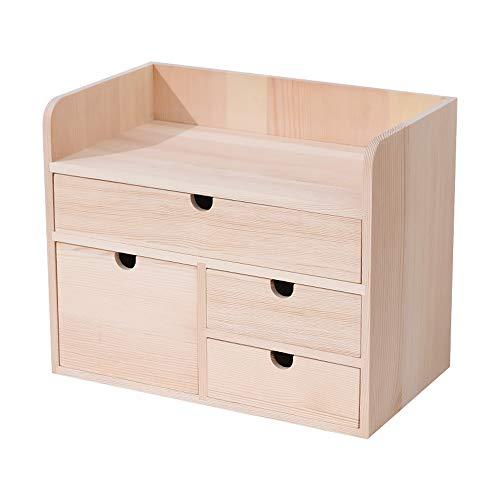 Kcakek Desktop Storage Box Cosmetische kabinet met lade Dress Up Op Houten Lijst Cosmetische vitrinekast met grote capaciteit Exquisite Cosmetische zaak Layered Cosmetische Storage Box