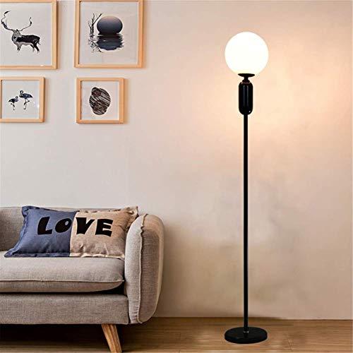L-YINGZON Simple lámpara de pie moderna E27 bola redonda pantalla de cristal Negro metal acabados de pintura de mármol Base de pie Lámpara de 1,45 M for sala de estar dormitorio Oficina lectura de cab
