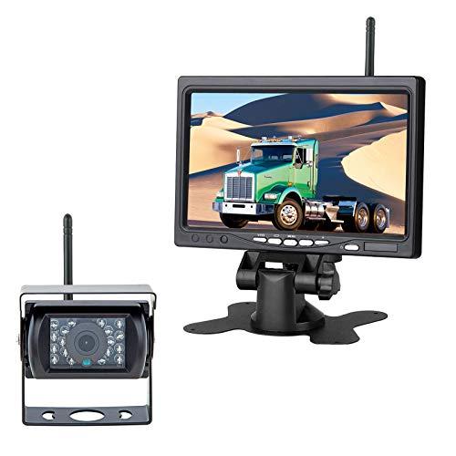 """Inalámbrico 18 IR LED Visión nocturna Impermeable Camara trasera(Sin linea de estacionamiento)+7"""" TFT LCD HD800 x 480 Píxel Monitor para Camiones / Autos / Tractores / Autobuses"""