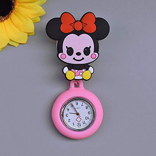 Reloj de Bolsillo con Broche de Solapa,Reloj de Bolsillo Lindo de Dibujos Animados, Reloj de Pecho retráctil para Doctor Que se Puede Estirar-Minnie,Reloj Silicona Enfermera