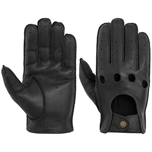 Stetson Convertible Deer Nappa Handschuhe Fingerhandschuhe Biker-Handschuhe Lederhandschuhe Herren - Frühling-Sommer - 9 HS schwarz