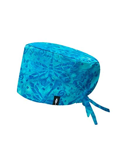 Modelo: Batik Turquesa - Estampado-Gorro de Quirófano ROBIN HAT- Pelo Largo- Ajustable-...