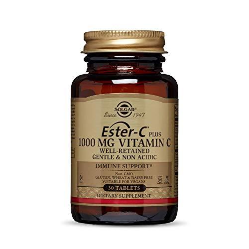 Solgar Ester-C Plus 1000 mg Vitamin C (Ascorbate Complex), 30 Tablets - Gentle On The Stomach & Non Acidic - Antioxidant & Immune System Support - Non GMO, Vegan, Gluten Free, Kosher - 30 Servings