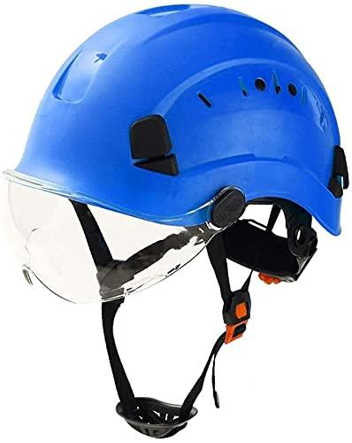 TUAN Casco de Seguridad, Casco Industrial con Gafas, diseño de Soporte Protector, ventilación y ventilación, Utilizada en proyectos de construcción, Operaciones de Gran altitud (Color : Blue)