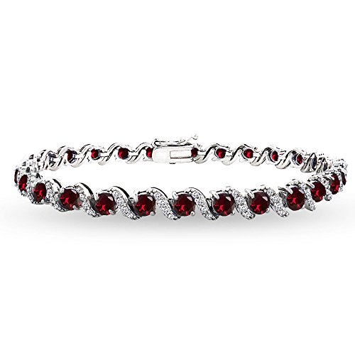 GemStar USA Sterling Silver Synthetic Ruby 4mm Round-Cut S Design Tennis Bracelet with White Topaz Accents