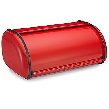 Polder 210201-30 Deluxe Bread Bin, Steel, 17  x 11  x 7 , Red