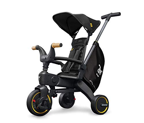 Doona Liki Trike S5 - Premium Foldable Push Trike and Kid's Tricycle for Ages 10 Months to 3 Years, Nitro Black