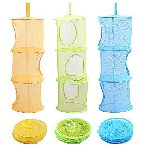 Voarge 3 Stück Set Mesh Hängender Speicher Korb, Tür-Aufbewahrung für Kinder Spielzeug-Organizer zum Aufhängen mit 3 Ebenen tragbar faltbar, für Kleine Kleidung (Blau, Grün, Gelb)