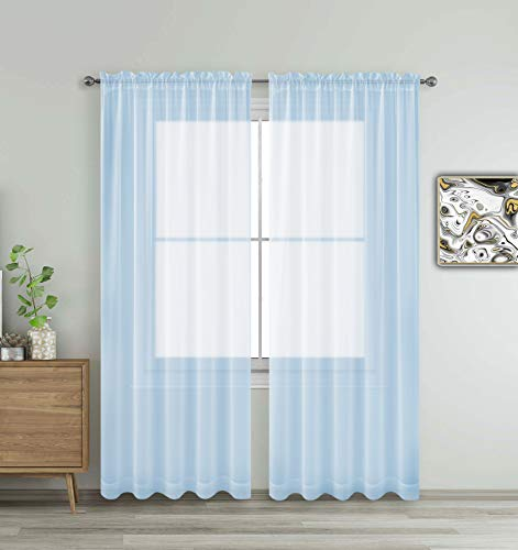 Sky Lite Blue Window Sheer Treatment Panels Beautiful Rod Pocket Voile Elegance Curtains Drapes for Living Room, Bedroom, Kitchen Fully Stitched, Set of 2 (Sky Blue, 84' Inch Long)