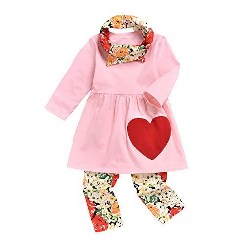 Baby Meisje Valentijnsdag Kleding Peuter Kids Lange Mouw Liefde Hart Jurk Tops+ Bloemen Broek Leggings Hoofdbanden 3 Stks Outfits Set Kleine Zuster Rose Bloem Katoen pyjama Slaapmode