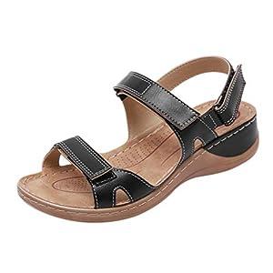YWLINK Sandalias De Talla Grande para Mujer Zapatos De Playa con Punta Abierta De Verano Sandalias Deportivas Antideslizantes Fondo Plano Zapatillas Casual(Negro,39EU)