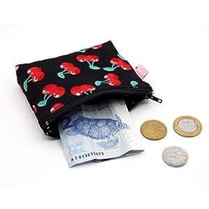 Große Kirschen Mini Portemonnaie Schwarz Cherry Geldbeutel Stoff
