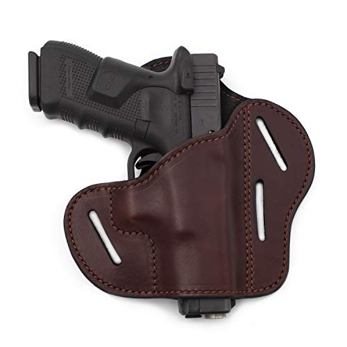 The Ultimate 3 Slot OWB Leather Gun Belt Holster - Fits S&W Shield/Glock/Springfield XD - Brown Right Handed