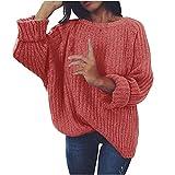 Wave166 Jersey de punto elegante para mujer, de un solo color, cuello redondo, de punto grueso, cálido, para el tiempo libre, de manga larga, ropa deportiva para mujeres, Rosa., S