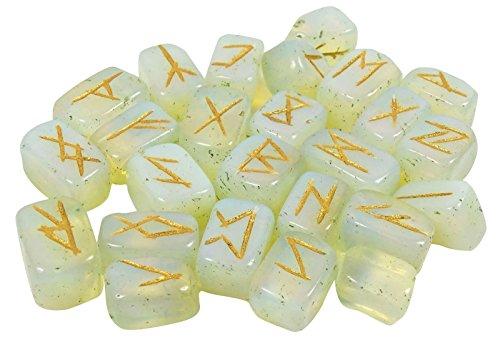 Harmonize Tembled con Rune Símbolo del alfabeto Opalite Crystal Stone Spiritual Gift