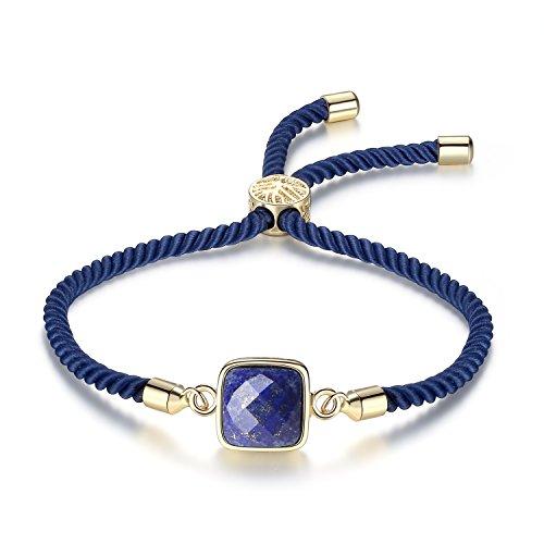 COAI Pulsera para Mujer Ajustable con Piedra Lapislázuli Cuadrada y Cordón Espiral de Nylon con Cierre Amuleto Árbol de la Vida
