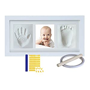 Baby Handprint Footprint Keepsake Kit in Baby Picture Frame – Newborn Prints Photo Frame – Baby Hand Printing Kit for Nursery Memory Art Kit Frames – Unique Baby Shower Gifts (White)