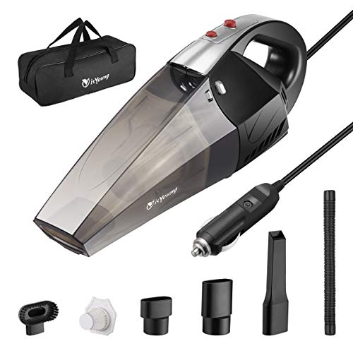 isYoung Autostaubsauger mit LED-Licht, 4500PA Saugstärker Tragbarer Autostaubsauger, DC12-Volt Nass- / Trockensauger mit Tragetasche, EIN zusätzlicher HEPA-Filter, Schwarz-Silber