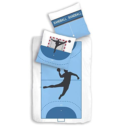 MTOnlinehandel TRAUMHELDEN Bettwäsche 135x200 · Handball · Kinderbettwäsche für Mädchen und Jungen, Teenager & Erwachsene · Biber/Flanell · 1 Kissenbezug 80x80 + 1 Bettbezug 135x200 cm