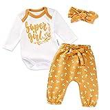 Baby Sweets 3er Baby-Erstausstattung-Set Good Girl für Mädchen mit Langarm-Body, Hose und Haarband in Weiß-Gelb als Baby-Bekleidungsset für Neugeborene und Kleinkinder/Größe 56 (Newborn)